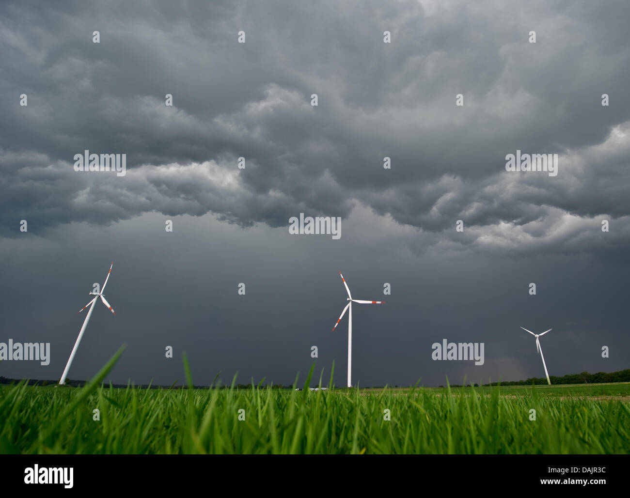 Thunderstorms approaches a field with wind wheels near Sieversdorf, Germany, 26 April 2011. PHOTO: PATRICK PLEUL Stock Photo