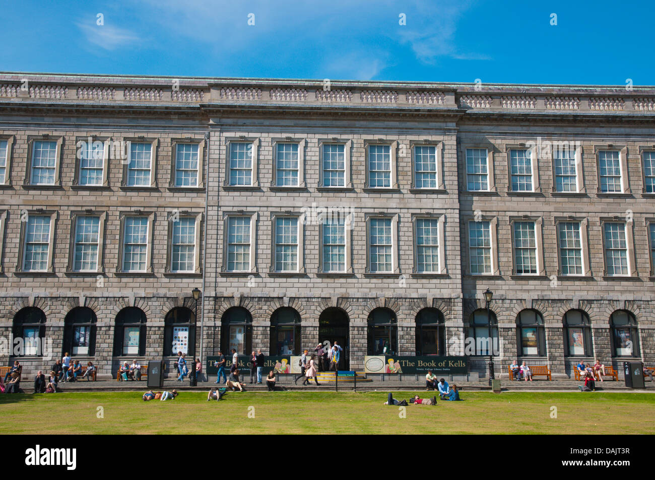 Old Library building containing Book of Kells the Fellows square Trinity college university area central Dublin - Stock Image