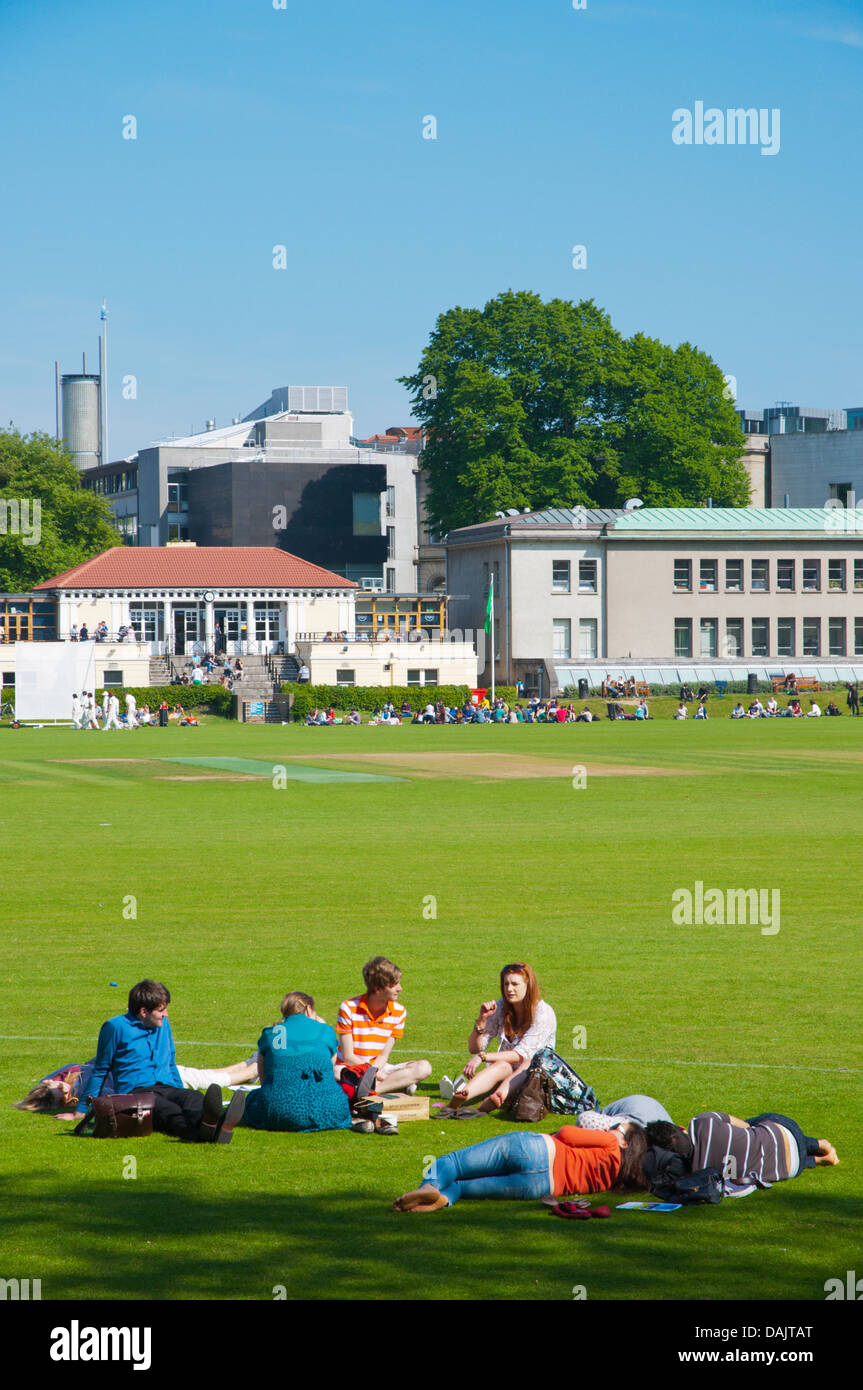 Students at College Park in Trinity college university area central Dublin Ireland Europe - Stock Image