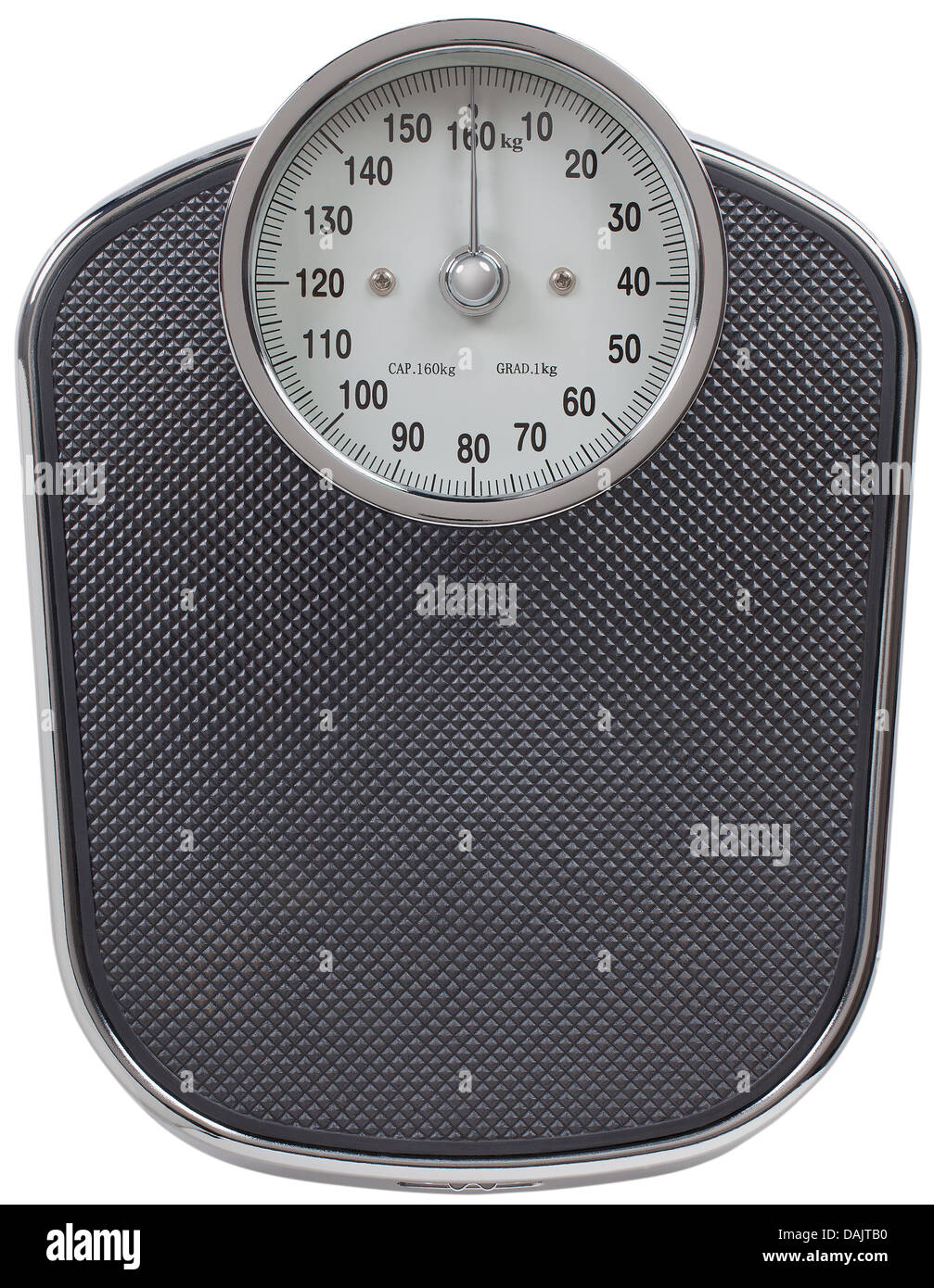Analog scale on white background, close up - Stock Image