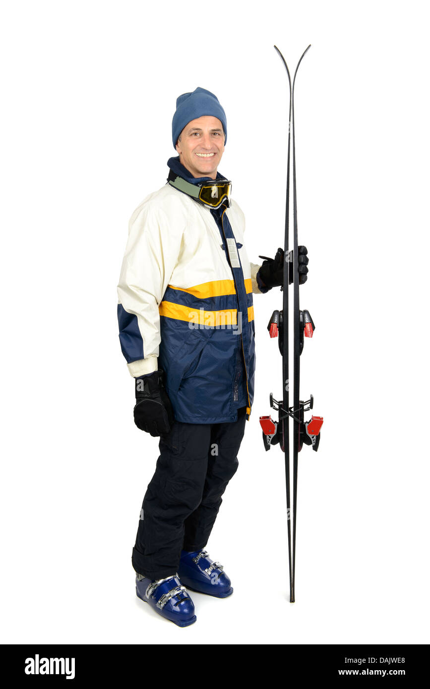 Skier in full gear isolated in white - Stock Image