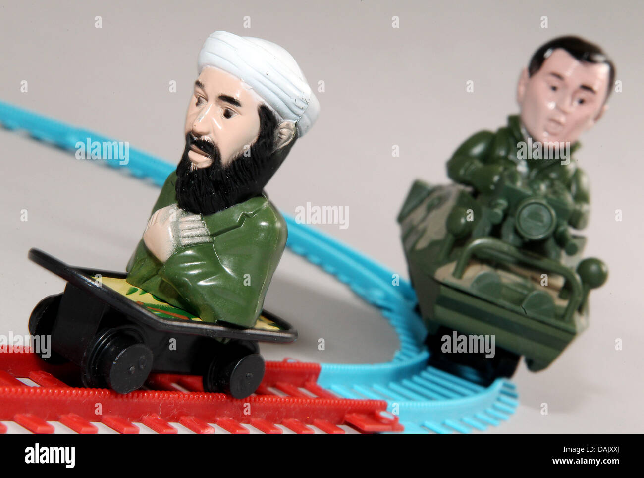 (ILLUSTRATION)An illustration dated 02 May 2011 shows the terrorist Osama bin Laden and the former US President Stock Photo