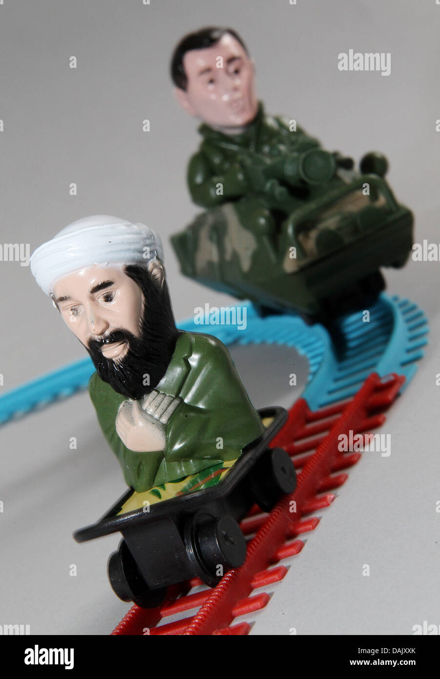 (ILLUSTRATION) An illustration dated 02 May 2011 shows the terrorist Osama bin Lade and the former US President Stock Photo
