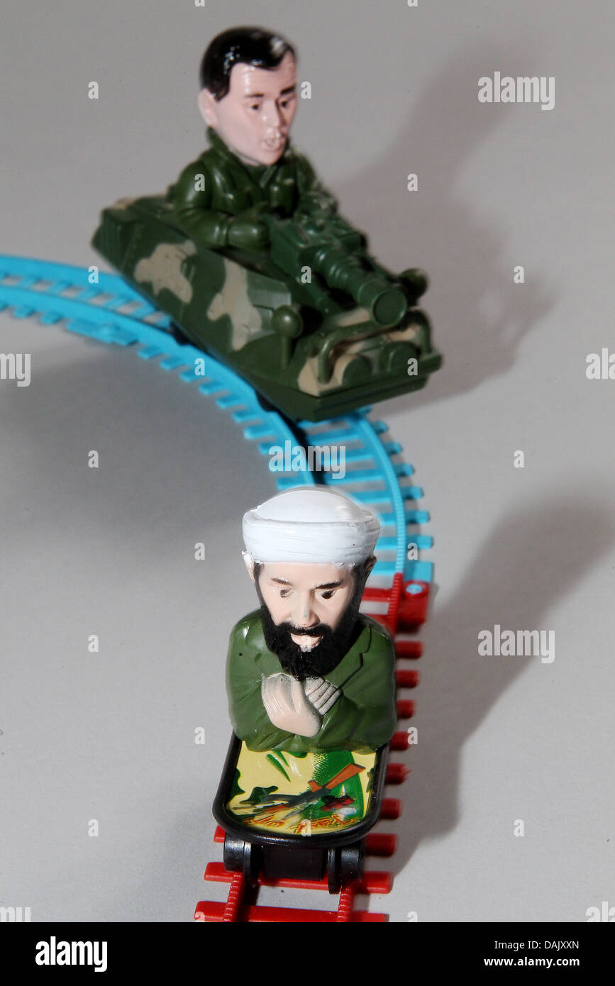 (ILLUSTRATION) An illustration dated 02 May 2011 shows the terrorist Osama bin Laden and the former US President Stock Photo