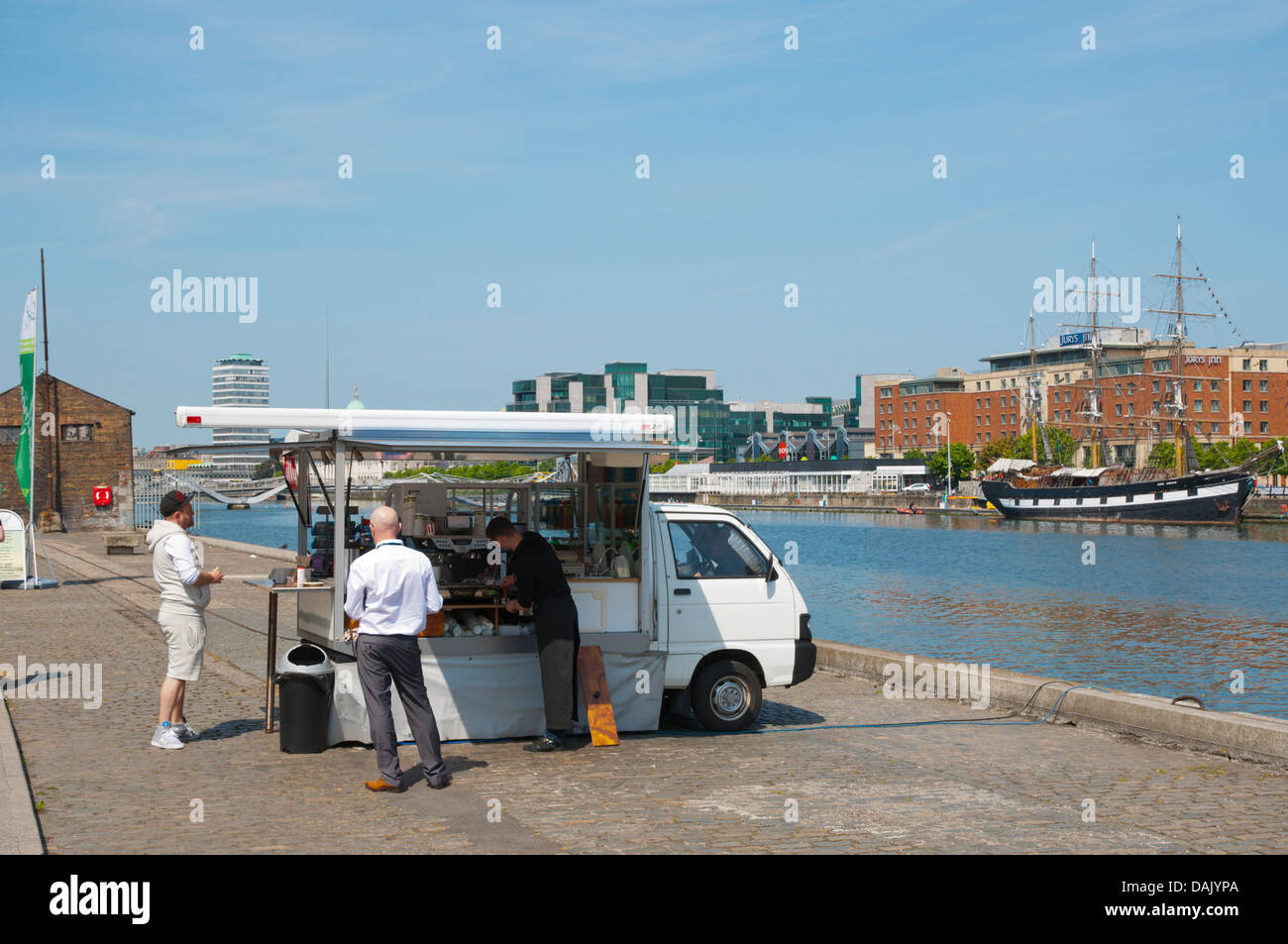 Coffee and snack stall City Quay in Docklands former harbour area by River Liffey central Dublin Ireland Europe - Stock Image