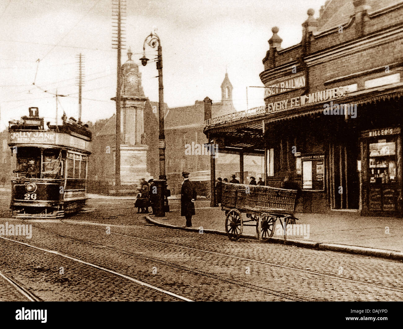 Birkenhead Central Railway Station early 1900s - Stock Image