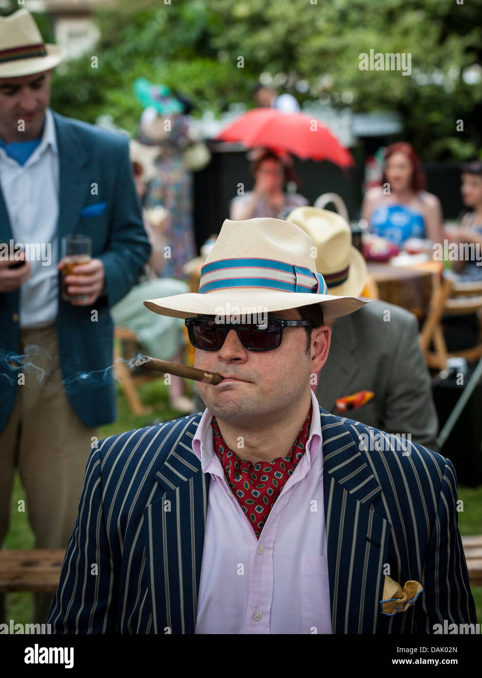 A chap attending the annual Chaps Olympiad in Bedford Square Gardens in London. - Stock Image