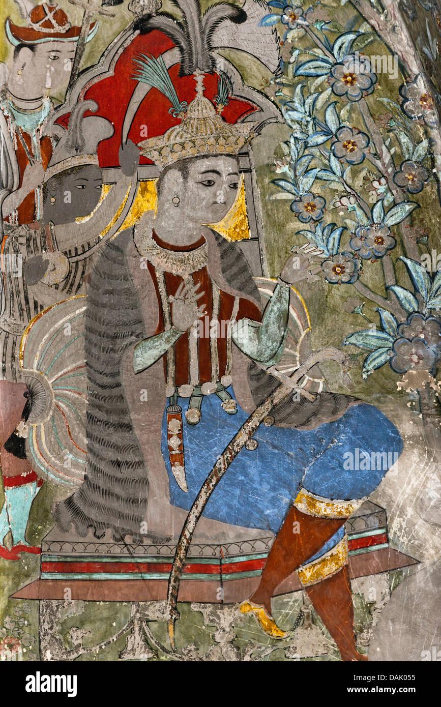 Ruler, mural or fresco painted with natural colours, Badal Mahal or Cloud Palace, Bundikalam school of painting, - Stock Image