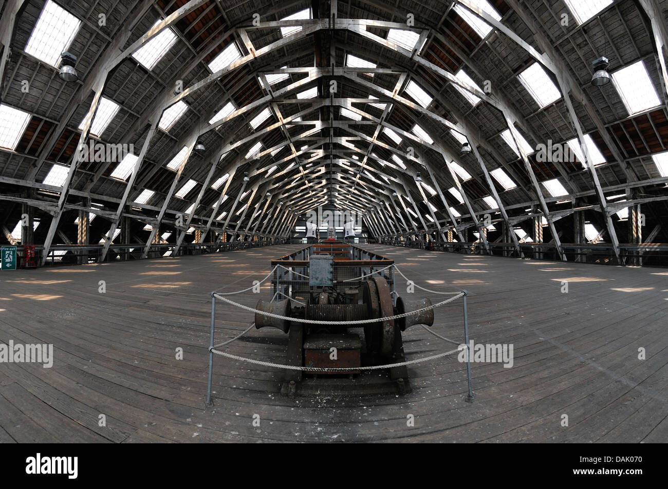 Chatham, Kent, England. Chatham Historic Dockyard. Covered slipway No 3 - The Big Space' - cantilevered timber - Stock Image