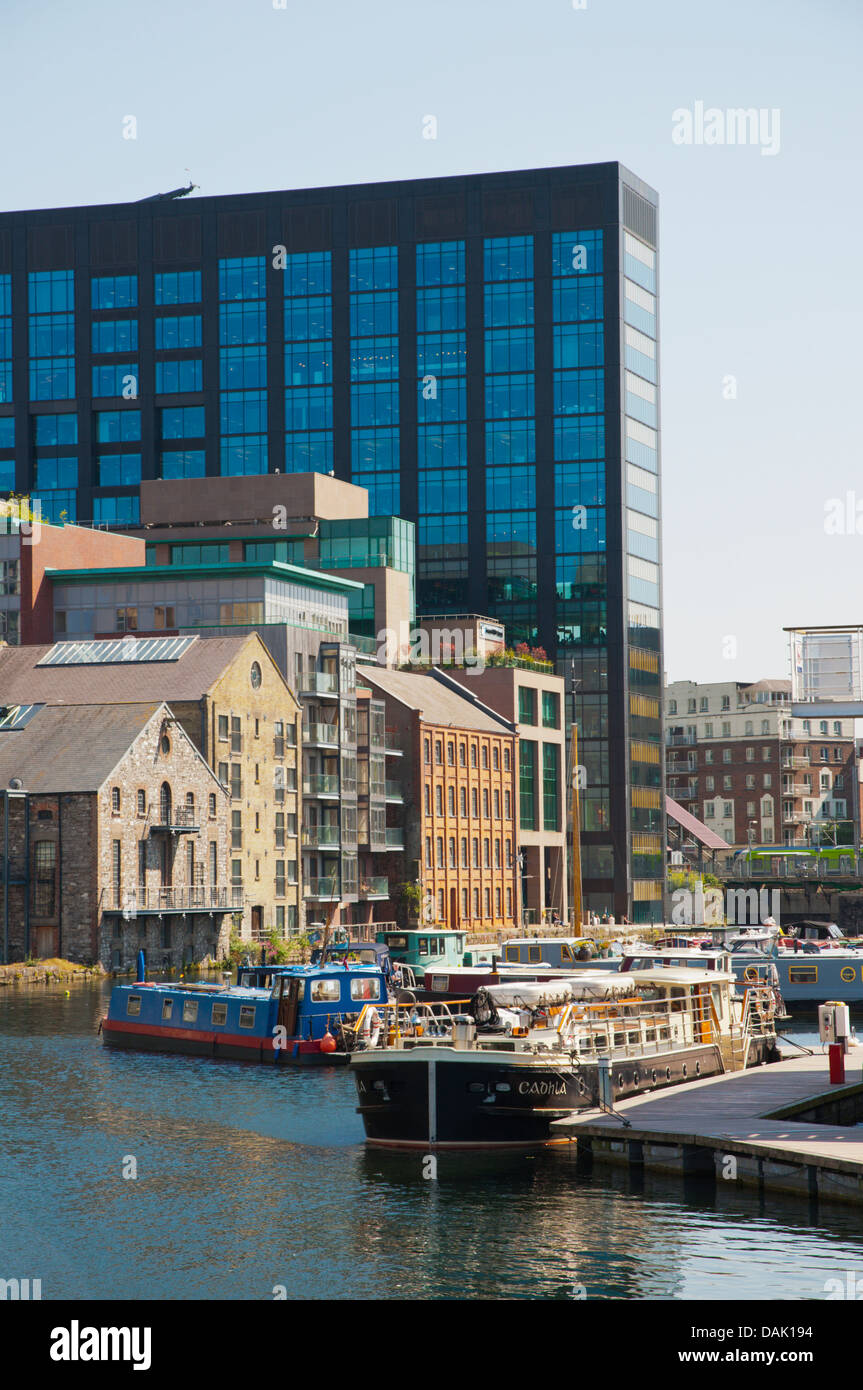 Grand Canal Docks in Ringsend Docklands former harbour area central Dublin Ireland Europe - Stock Image