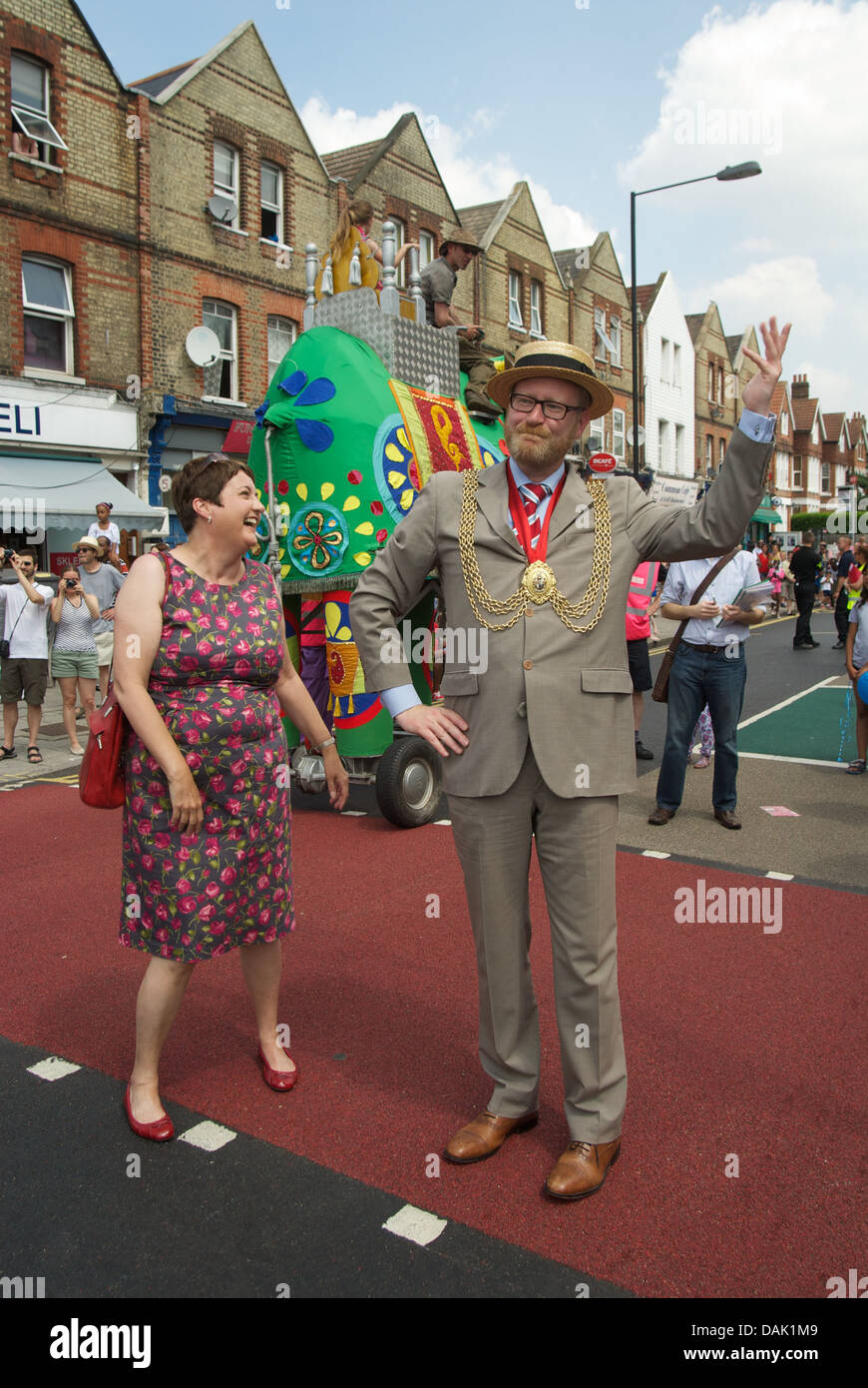 London Assembly member, Val Shawcross laughs as Labour Cllr., Mark Bennet strikes a curious pose during the Streatham - Stock Image