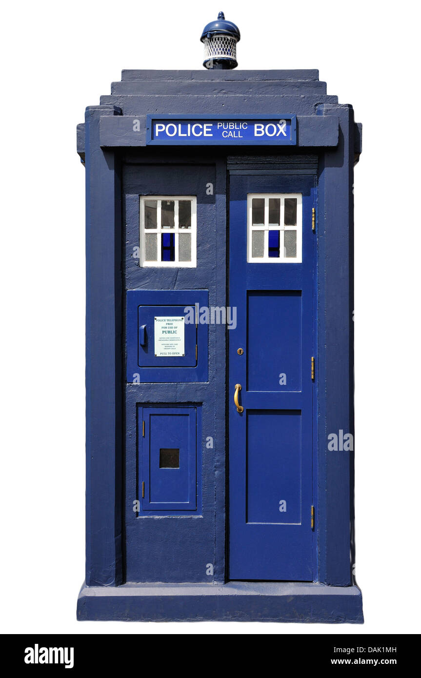 Chatham, Kent, England. Chatham Historic Dockyard. Kent Police Museum. Police Box ('Tardis') - Stock Image