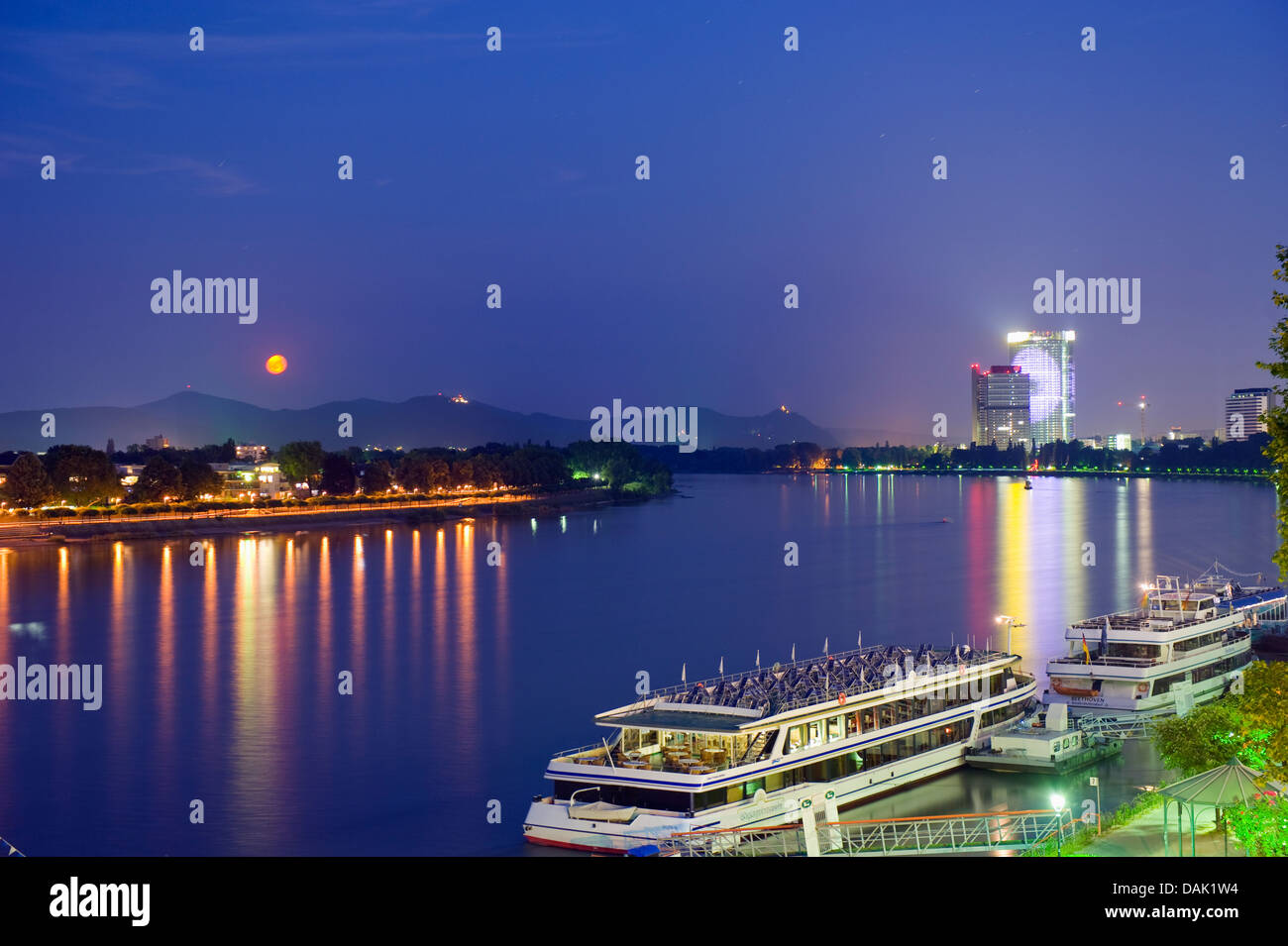 The Rhine River, Bonn, North Rhineland Westphalia, Germany, Europe - Stock Image