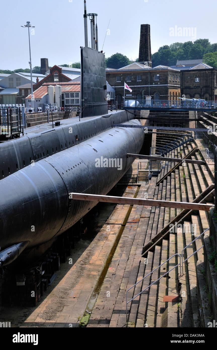 Chatham, Kent, England. Chatham Historic Dockyard. HM Submarine 'Ocelot' (Chatham, 1962) 'O' class - Stock Image