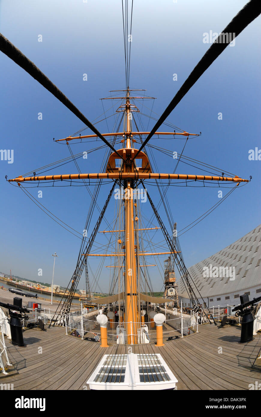 Chatham, Kent, England. Chatham Historic Dockyard. HMS Gannet (1878) Mast and rigging - Stock Image