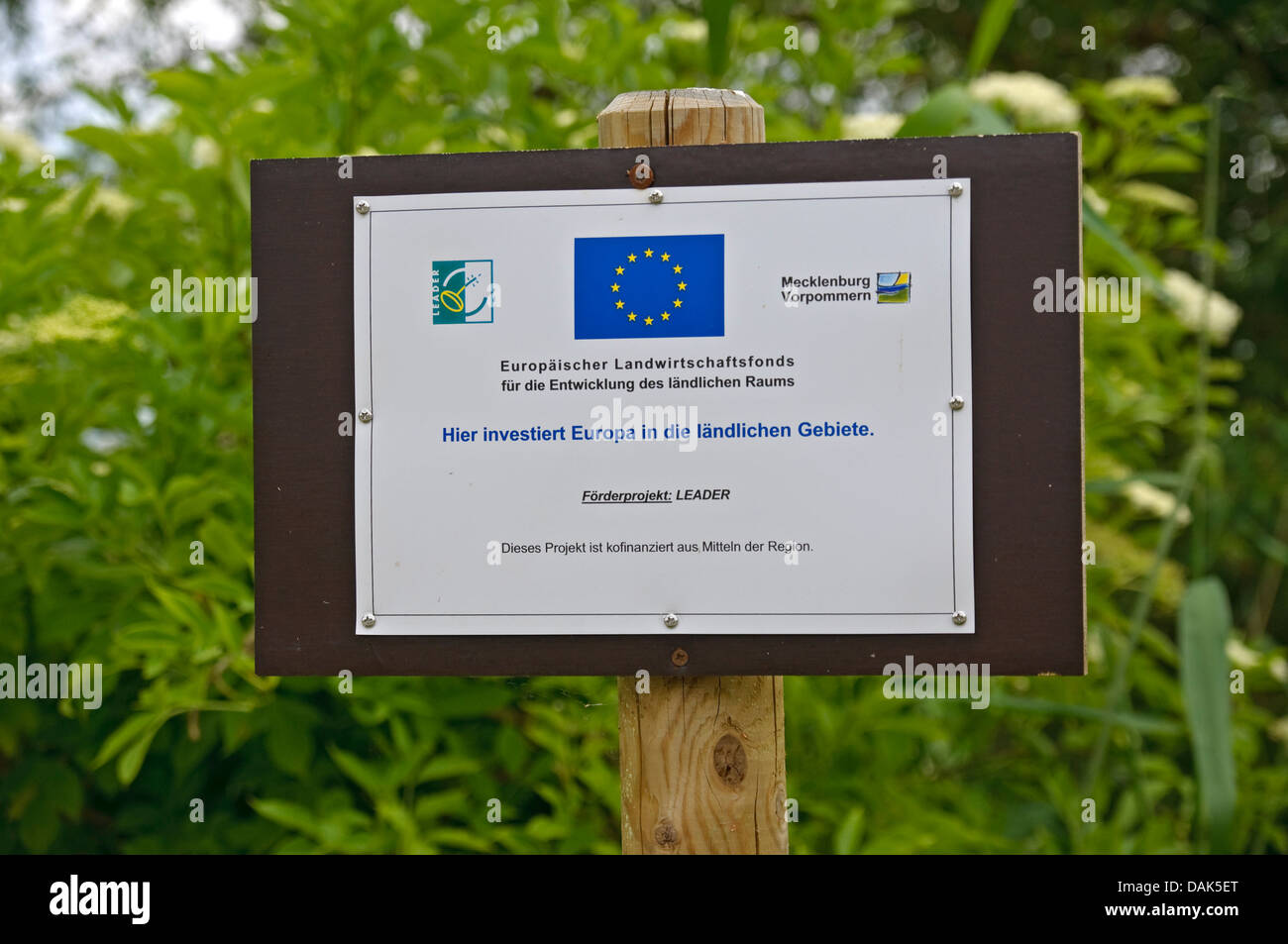 Sign from the European Union Leader project which promotes rural  development, Germany. - Stock Image