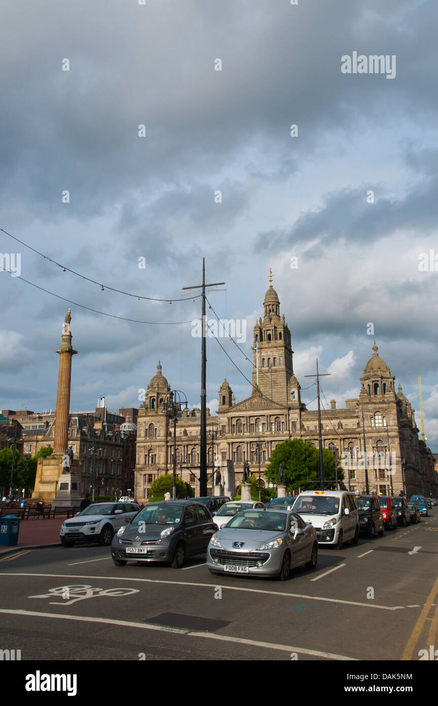 Traffic at George Square central Glasgow Scotland Britain UK Europe - Stock Image