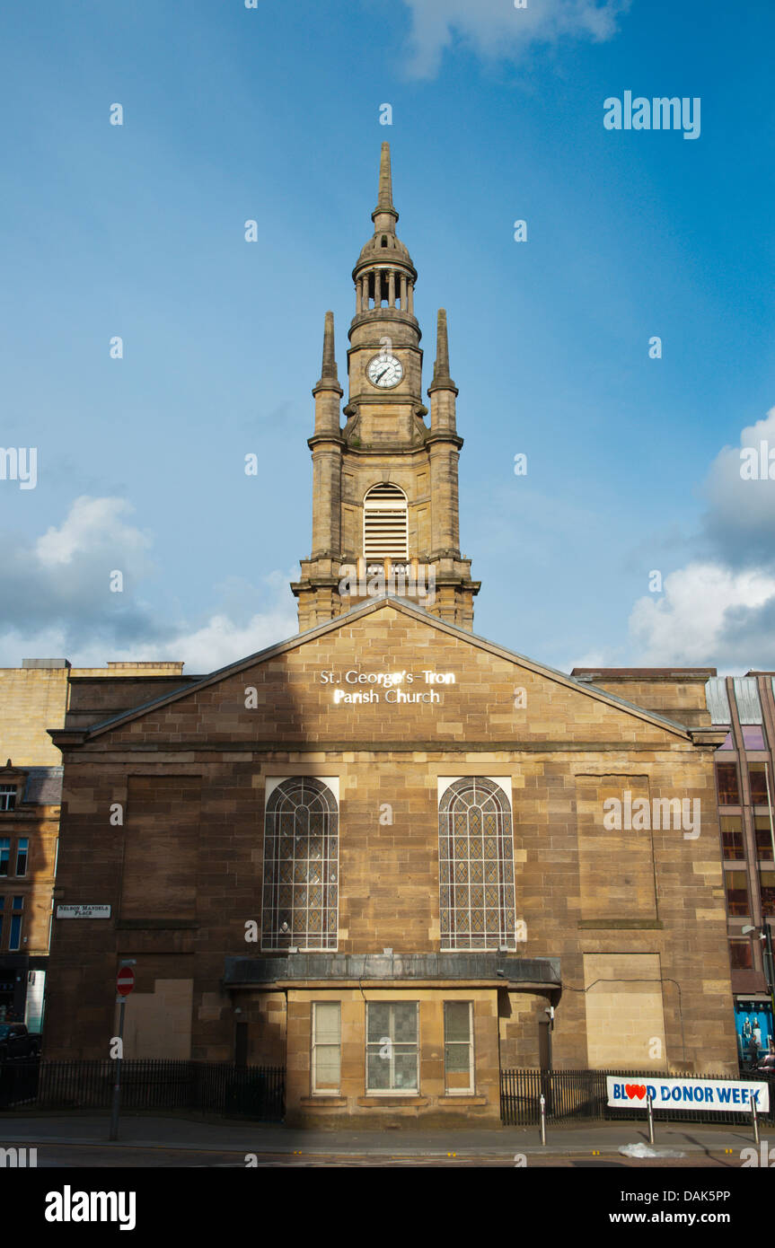 St George's Tron Church along Bath street and Nelson Mandela square central Glasgow Scotland Britain UK Europe - Stock Image