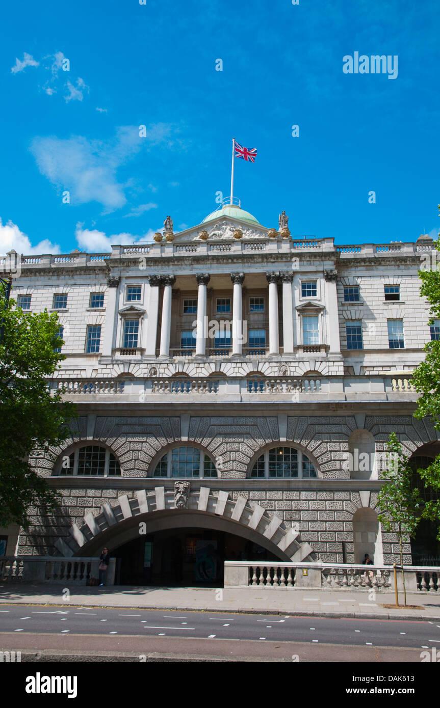 Somerset House along Victoria Embankment street central London England Britain UK Europe - Stock Image