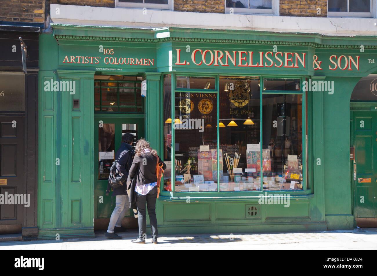 Cornelissen and Son art supply shop Bloomsbury district London England Britain UK Europe - Stock Image