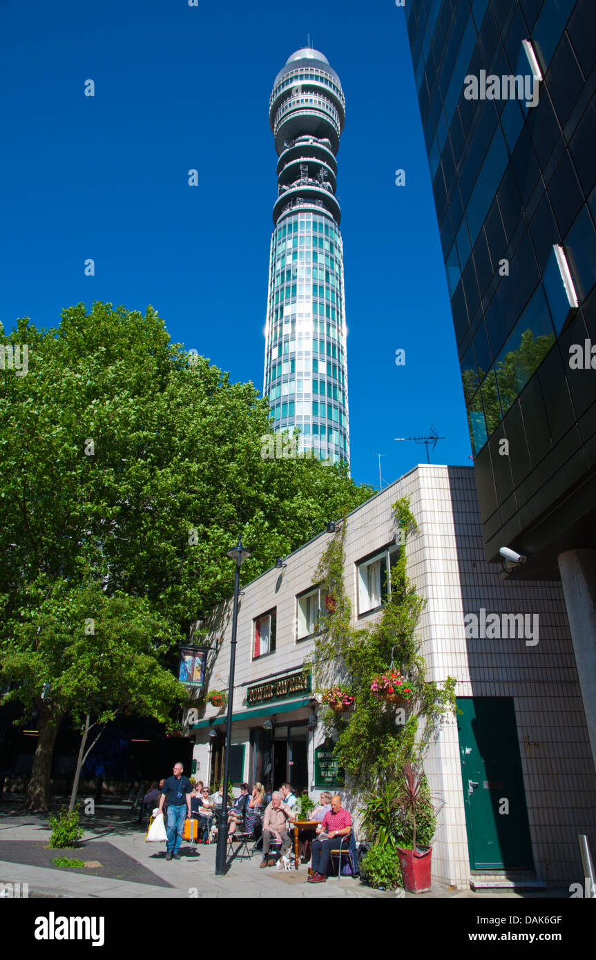 Tower Tavern pub terrace below BT Tower originally known as Post Office Tower Fitzrovia central London England Britain - Stock Image