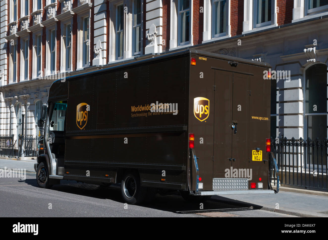 UPS delivery mail parcel service vehicle Fitzrovia district central London England Britain UK Europe - Stock Image
