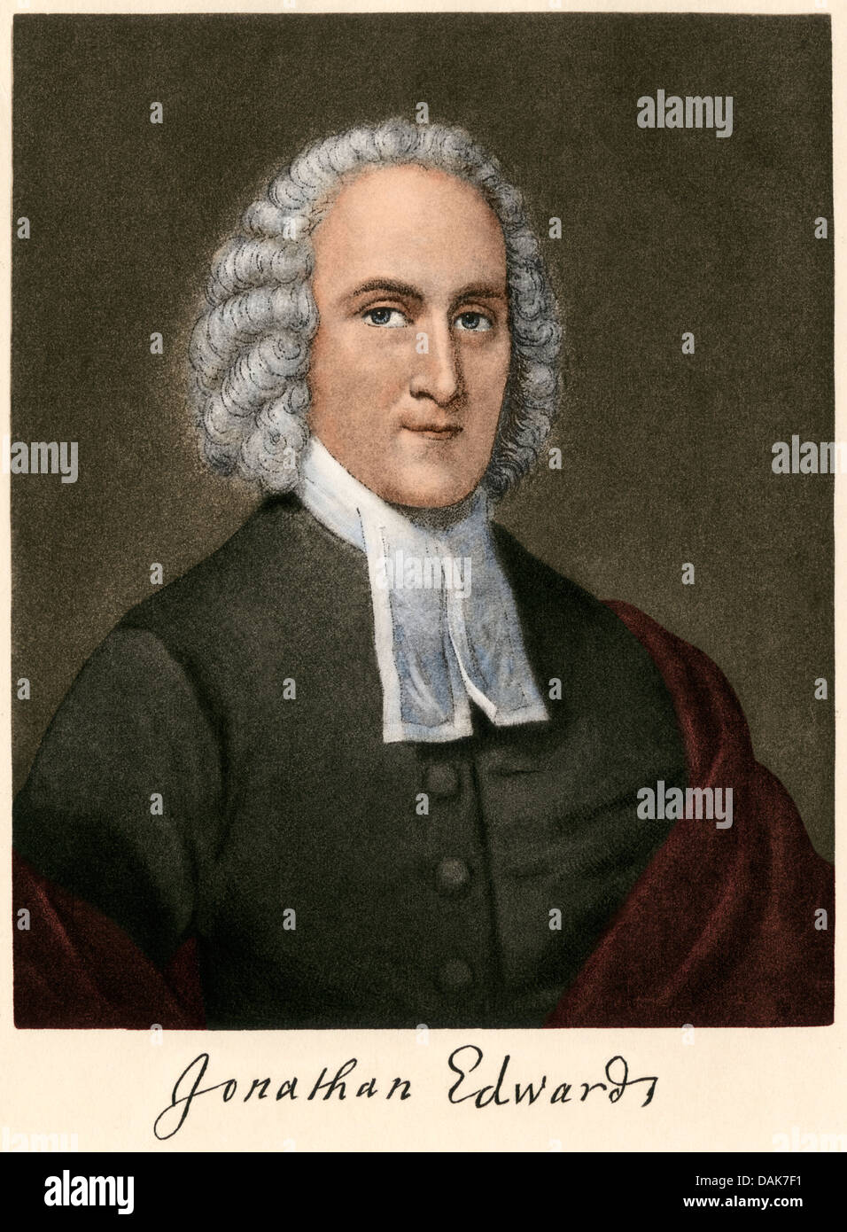 Jonathan Edwards, with autograph. Digitally colored engraving - Stock Image
