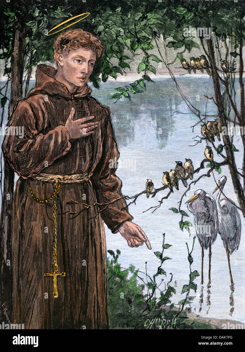 Saint Francis of Assisi addressing a group of birds. Hand-colored woodcut - Stock Image