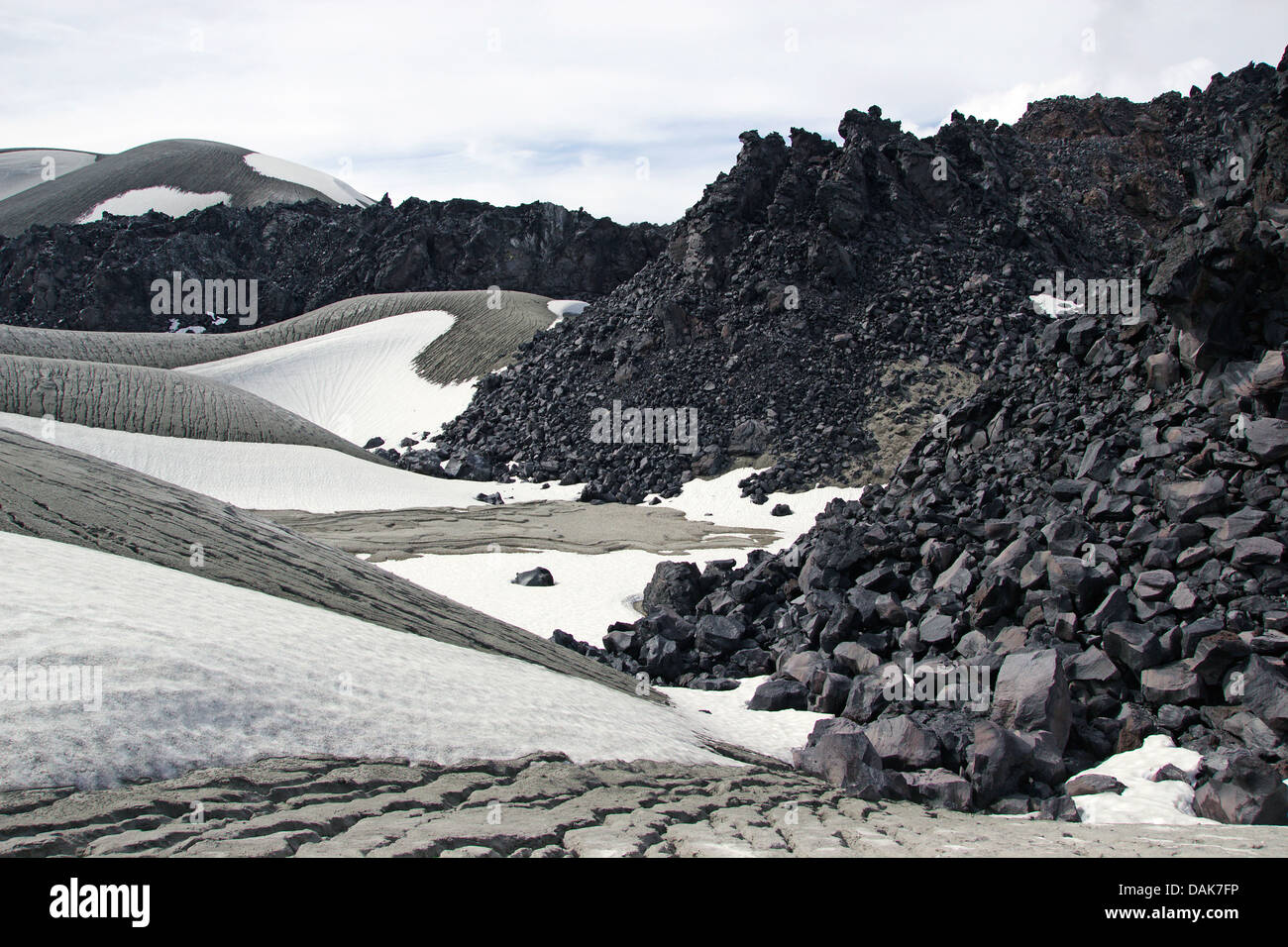 snow, volcanic ashes and lava at Cordon Caulle, Puyehue, Chile, Patagonia Stock Photo