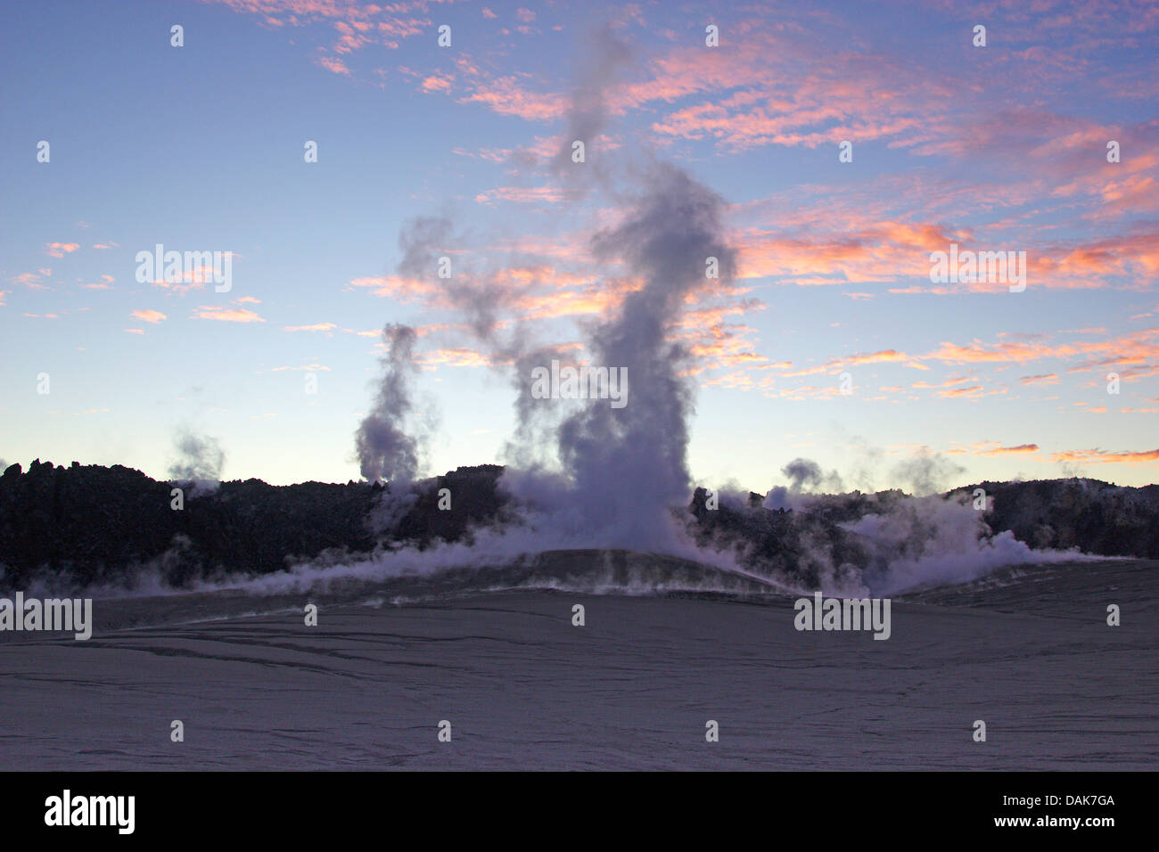 fumarole and stream of lava, Cordon Cualle at Puyehue in evening light, Chile, Patagonia - Stock Image
