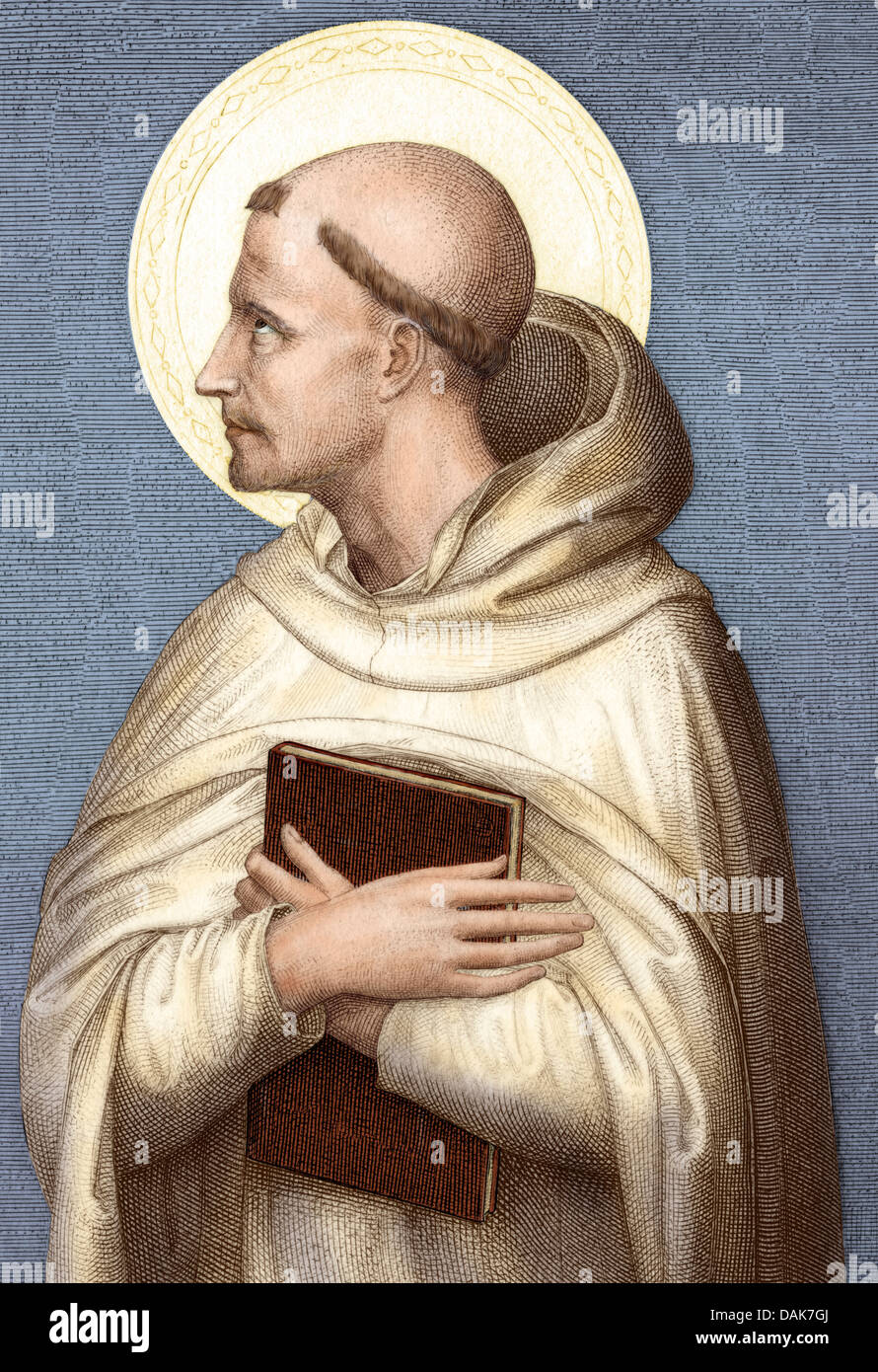 Saint Bernard of Clairvaux. Digitally colored engraving - Stock Image