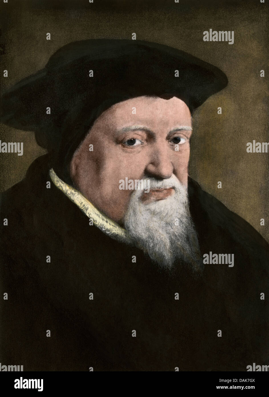 Ulrich Zwingli, Swiss religious reformer. Hand-colored halftone of an illustration - Stock Image