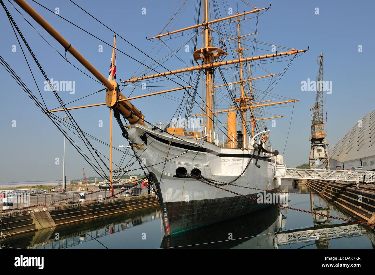 Chatham, Kent, England. Chatham Historic Dockyard. HMS Gannet (1878) - Stock Image