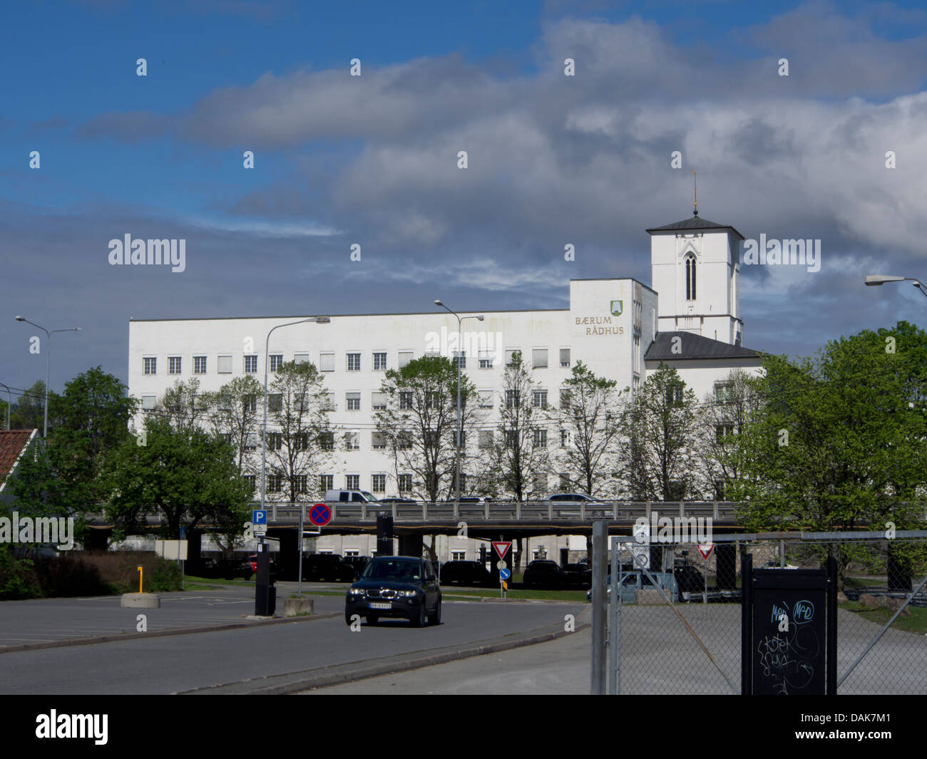 Sandvika city hall local government seat, Bærum Norway, with major motorway cutting across - Stock Image