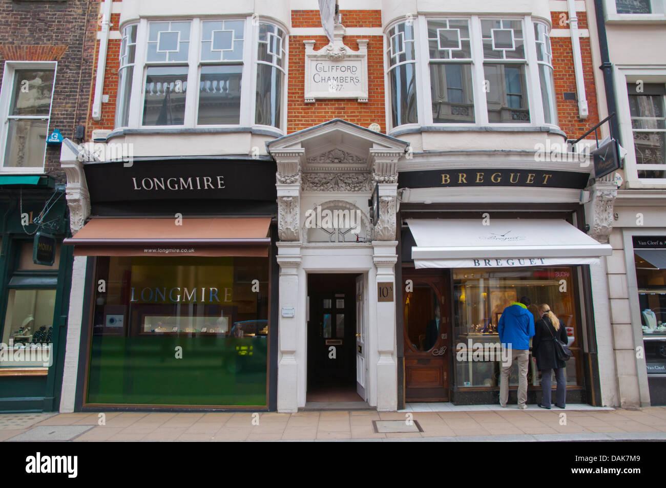 Jewellery shop Old Bond street Mayfair central London England Britain UK Europe - Stock Image