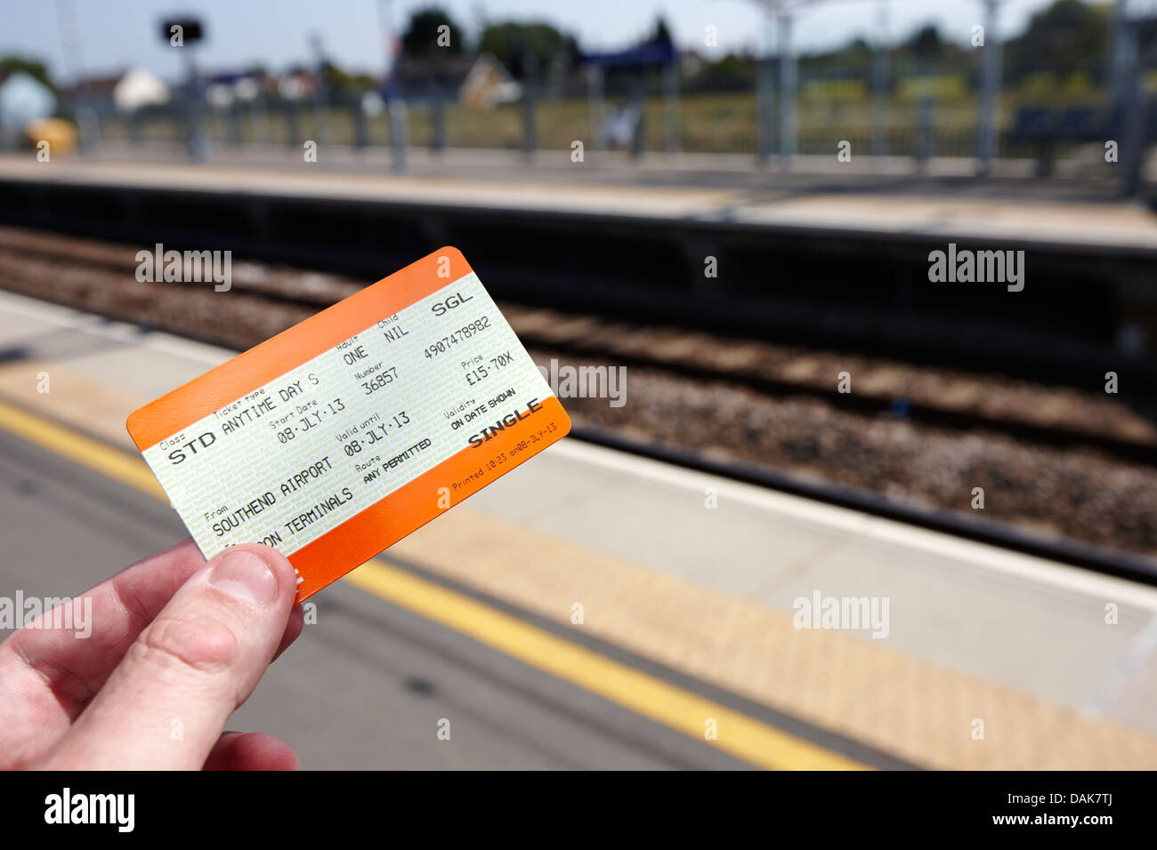 man holding standard class anytime day train ticket london, england uk - Stock Image