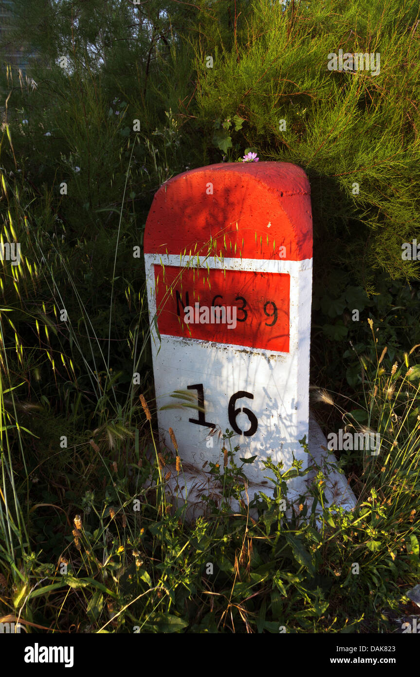 stone milestone on road surrounded by plants and bushes with 16 kilometer mark - Stock Image