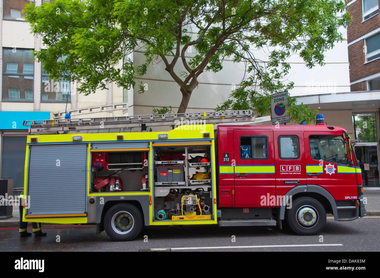 Fire brigade at work Marylebone district London England Britain UK Europe - Stock Image