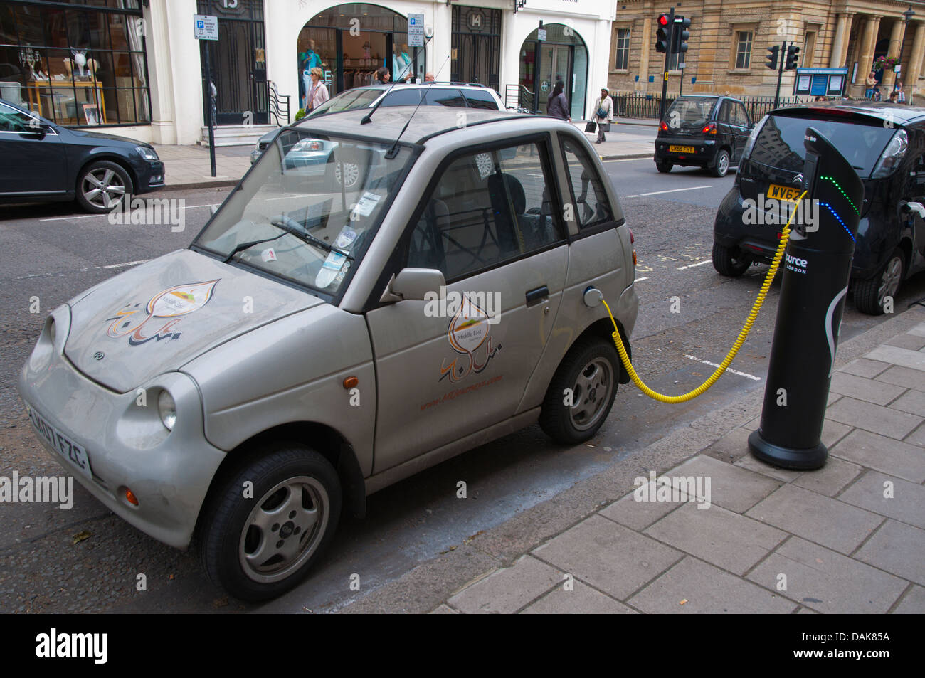 Electric car charging station or charging point Marylebone central London England Britain UK Europe Stock Photo
