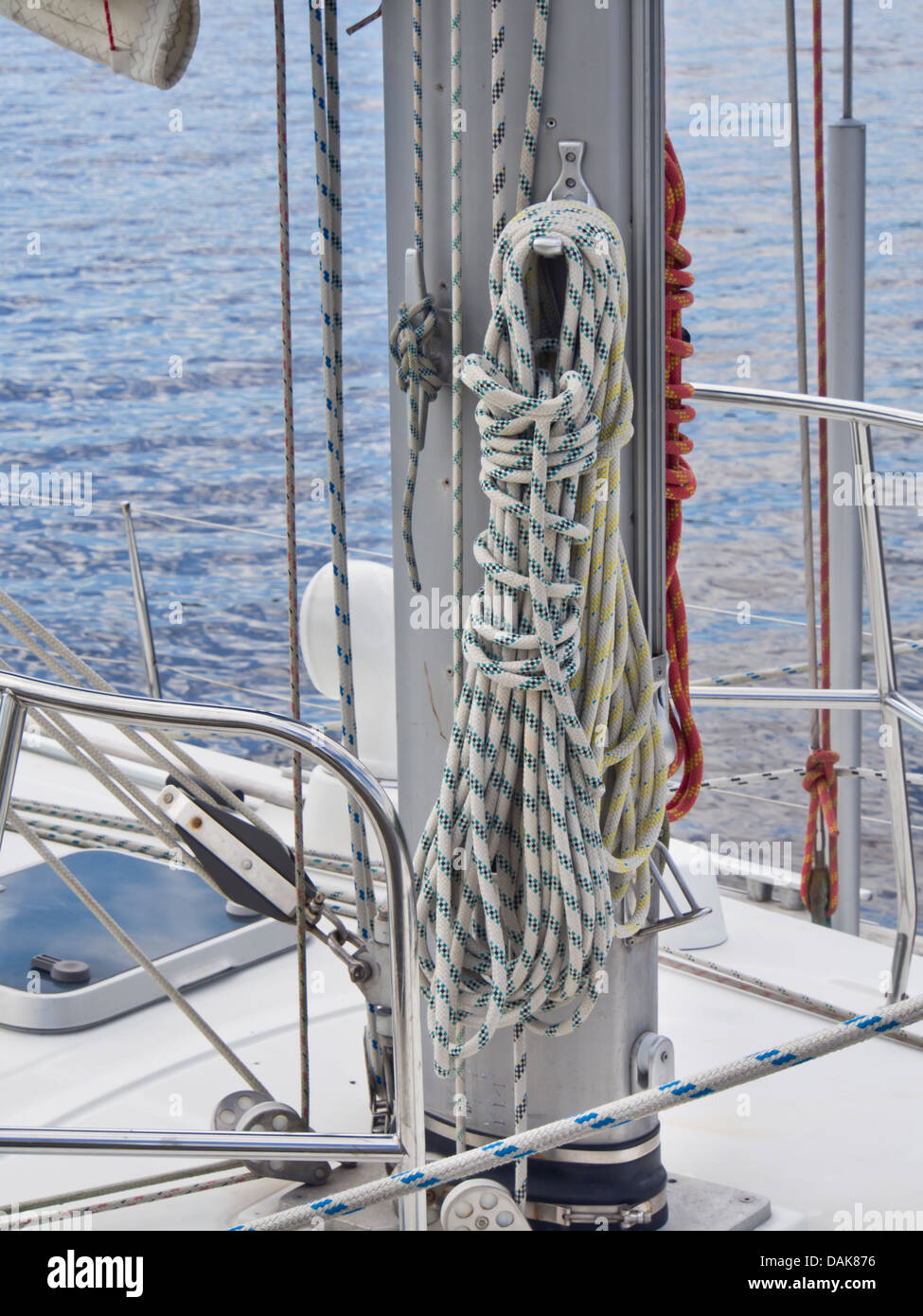 Ropes On Mast Stock Photos Images Alamy Sailboat Wiring Diagram Closeup Of And Sail Boat With Sea Behind Sandvika Norway Image