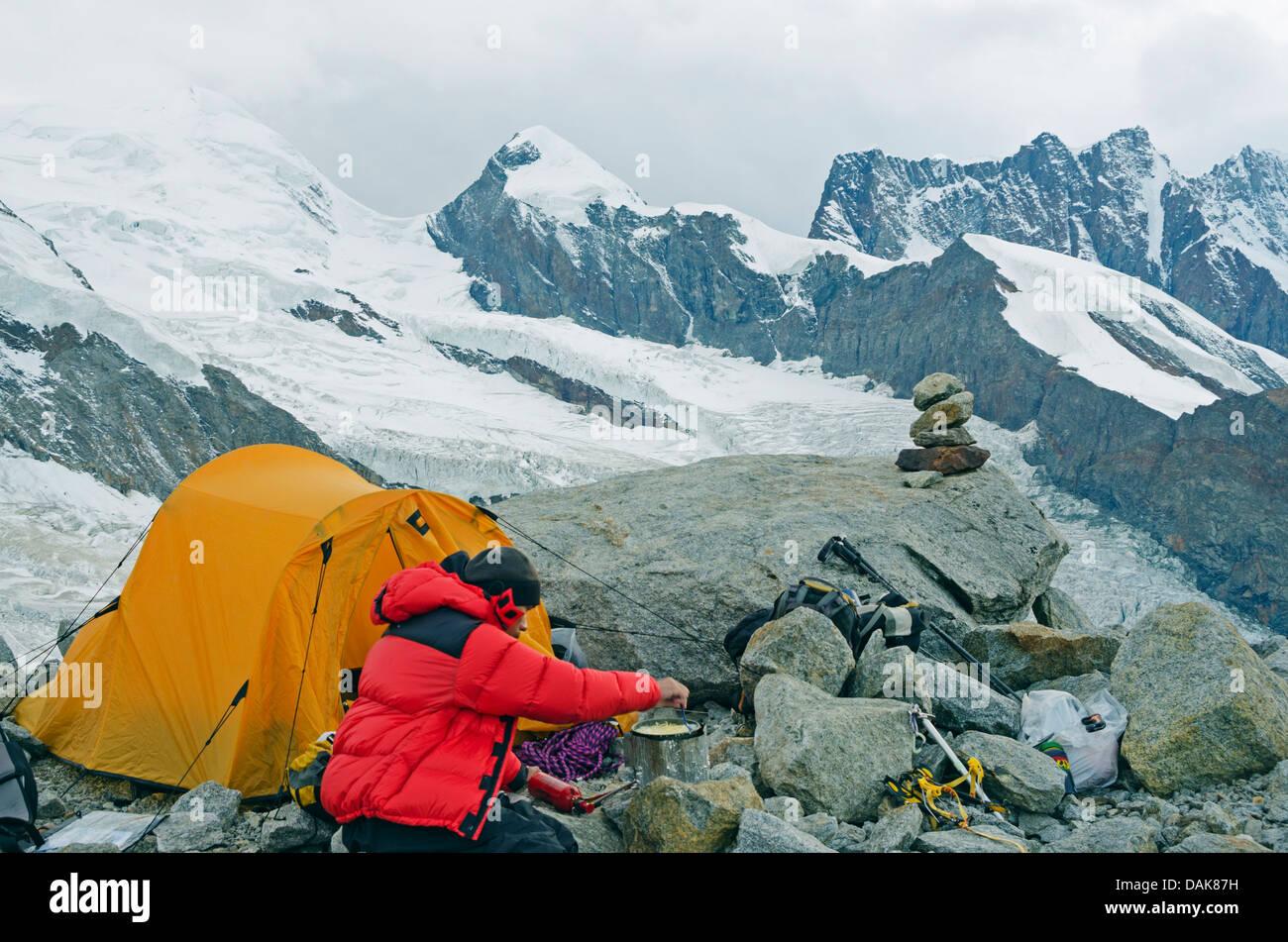 camping at Monte Rosa, Zermatt, Valais, Swiss Alps, Switzerland, Europe (MR) - Stock Image