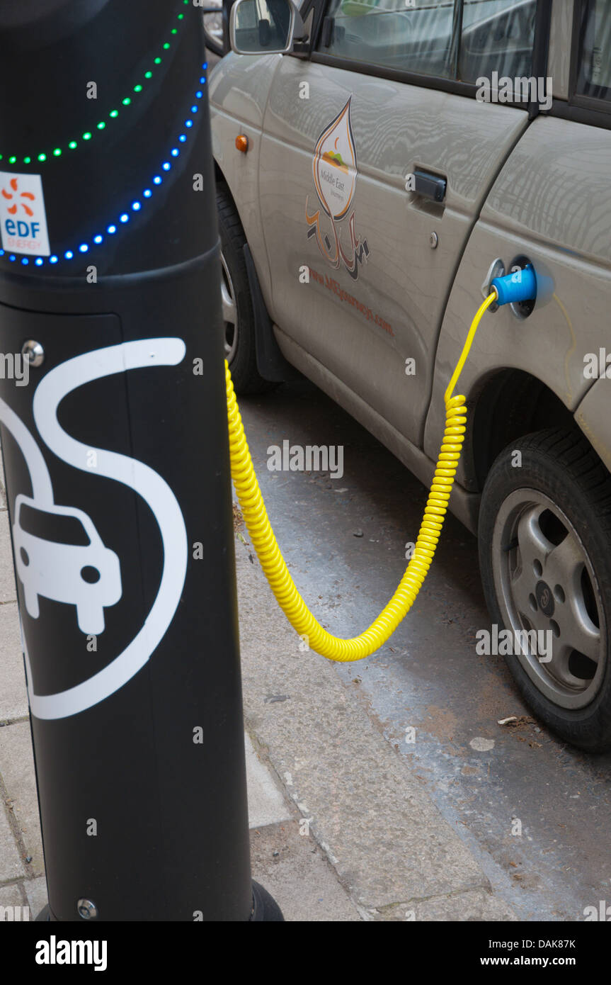 Electric car charging station or charging point Marylebone central London England Britain UK Europe - Stock Image
