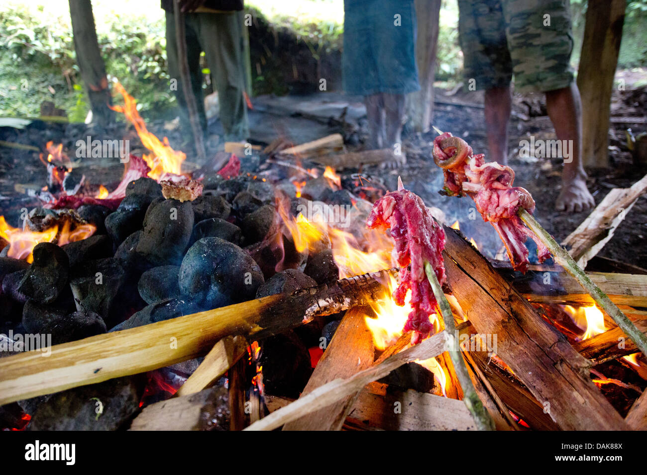 Pork Cooking Above A Traditional Papua New Guinea Earth Oven Or