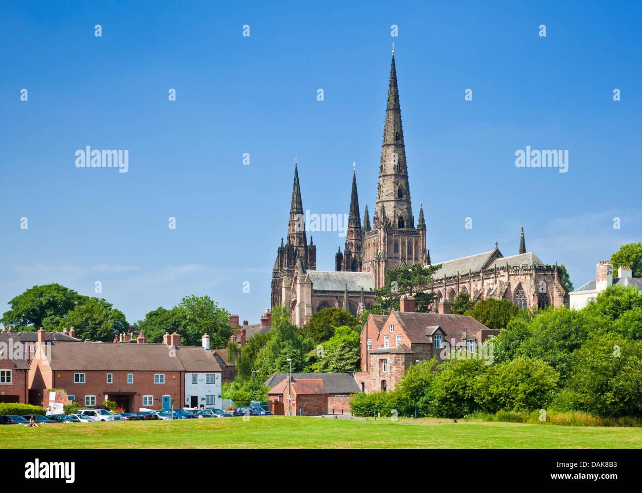 Lichfield cathedral from Stowe Field Lichfield Staffordshire England UK GB EU Europe - Stock Image