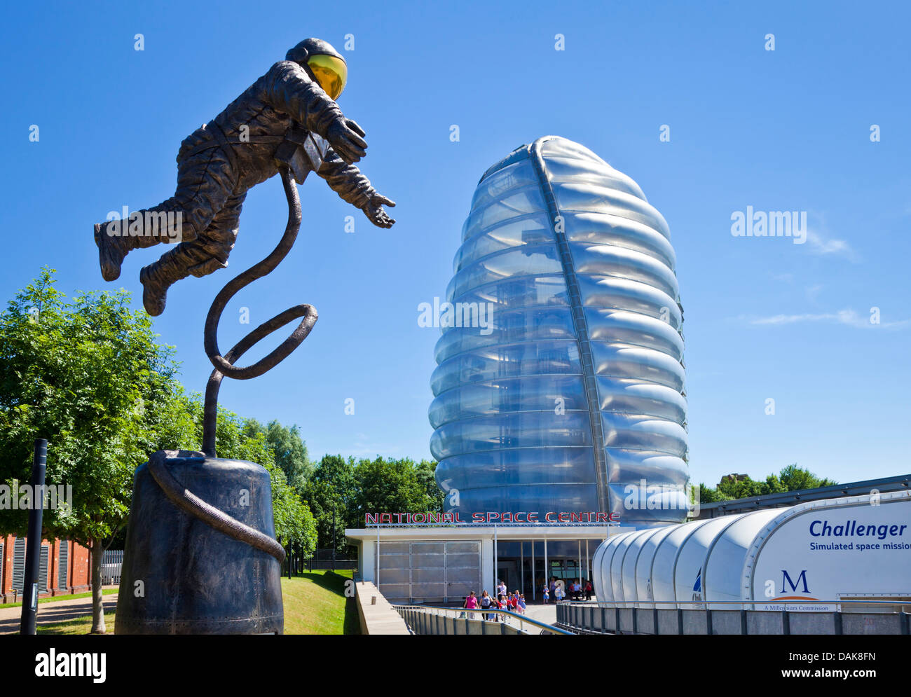 Astronaut model outside the The National Space centre Rocket tower Leicester national space centre leicester space - Stock Image
