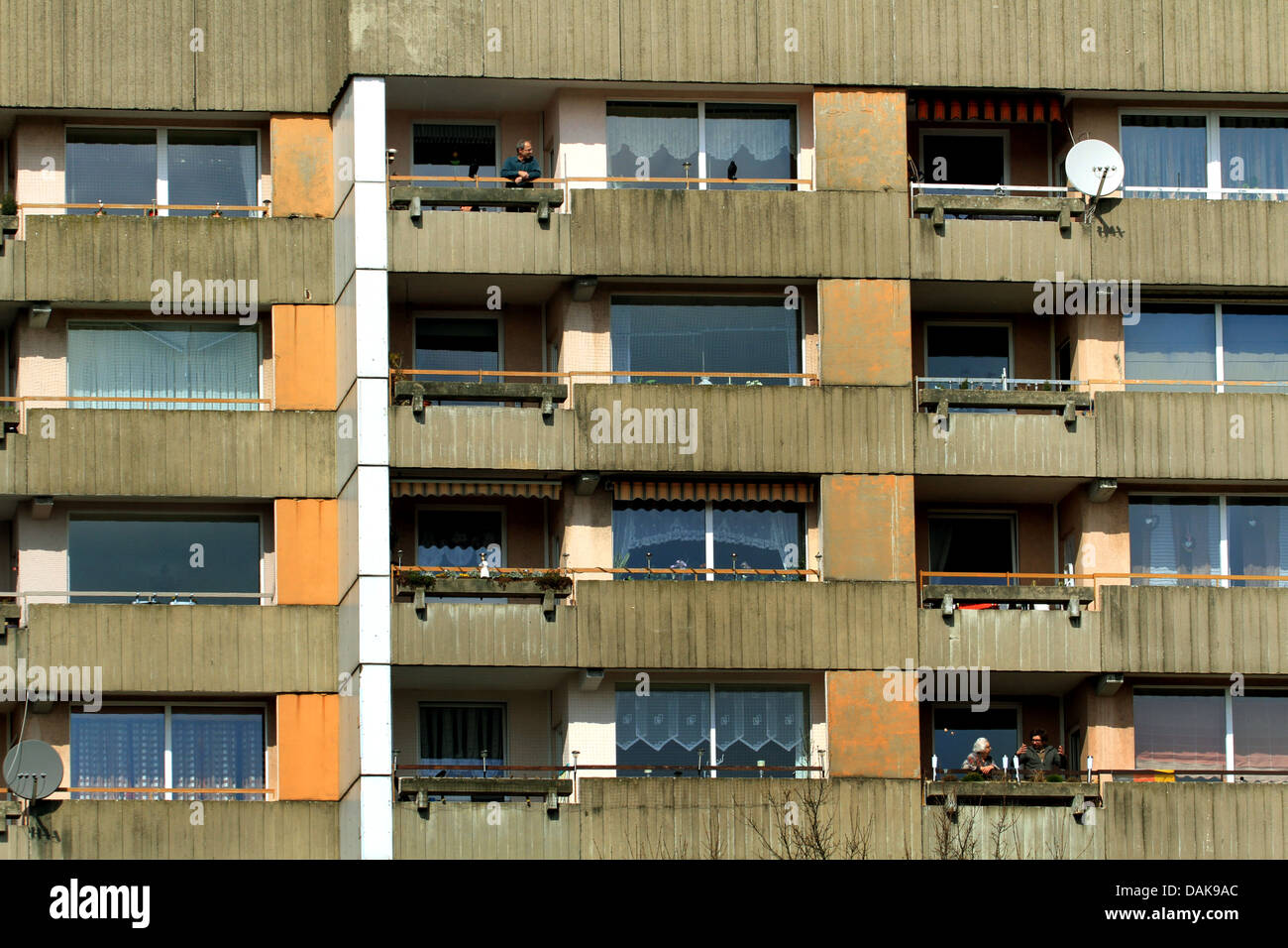 facade of a house built in the seventies, Germany, North Rhine-Westphalia, Ruhr Area, Essen - Stock Image