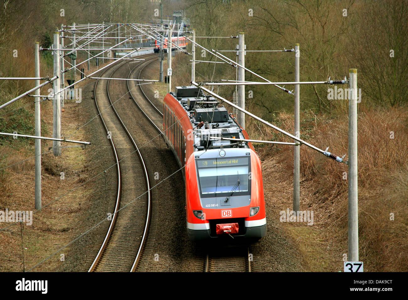 S-Bahn in Ruhr Metropolitan Region, Germany, North Rhine-Westphalia, Ruhr Area, Essen - Stock Image