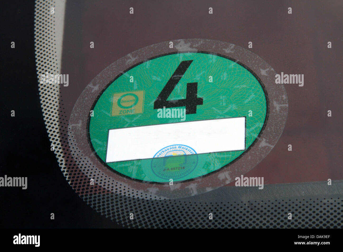 pollution badge, category 4, Germany Stock Photo