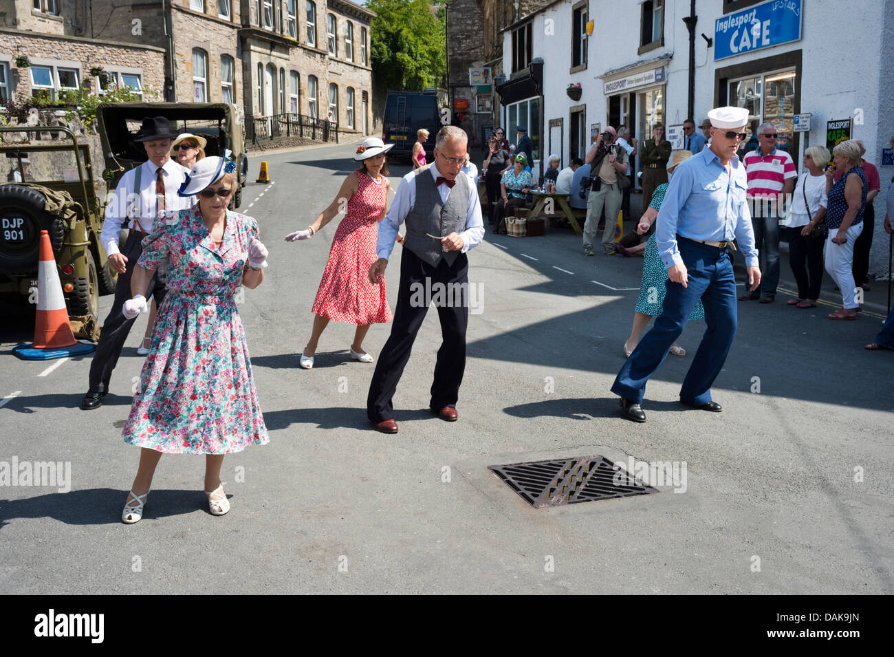 Street dancing at a 1940s weekend at Ingleton, North Yorkshire, UK, July 2013 - Stock Image