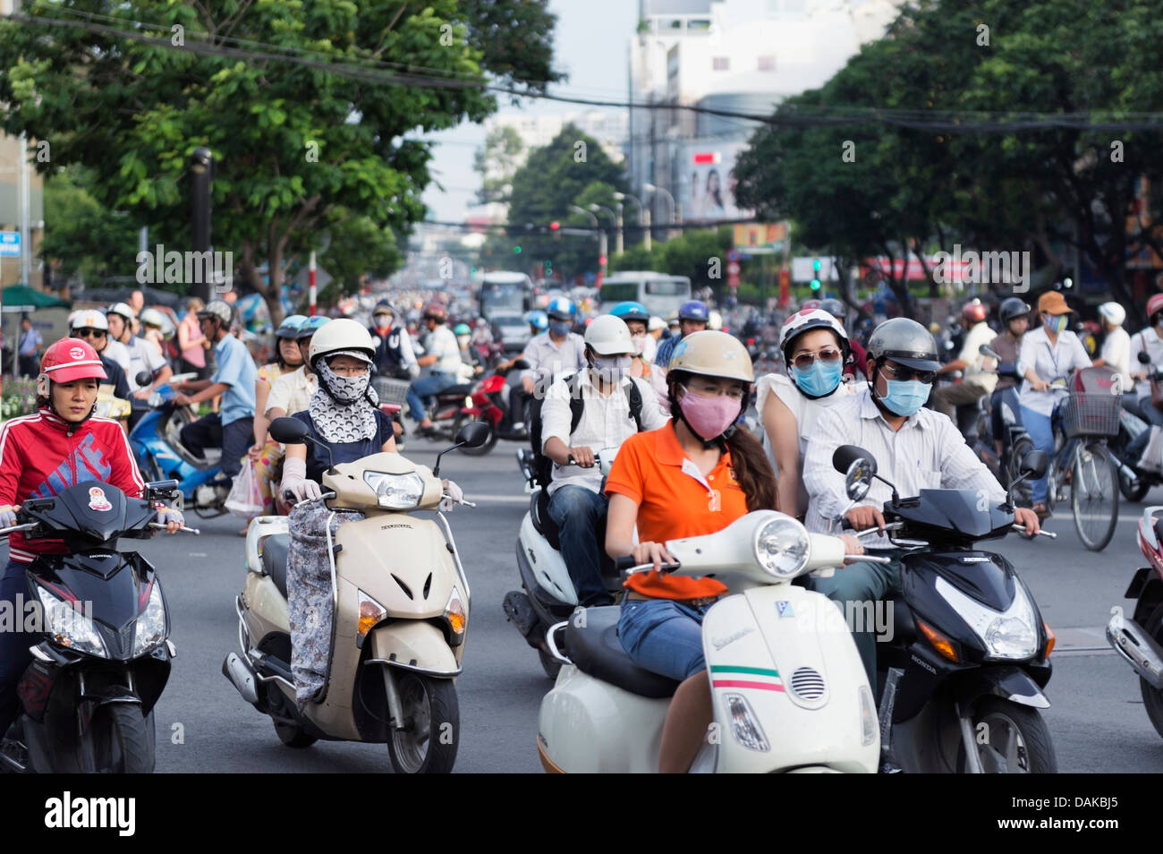 Ho Chi Minh City (Saigon), Vietnam - scooter traffic Stock
